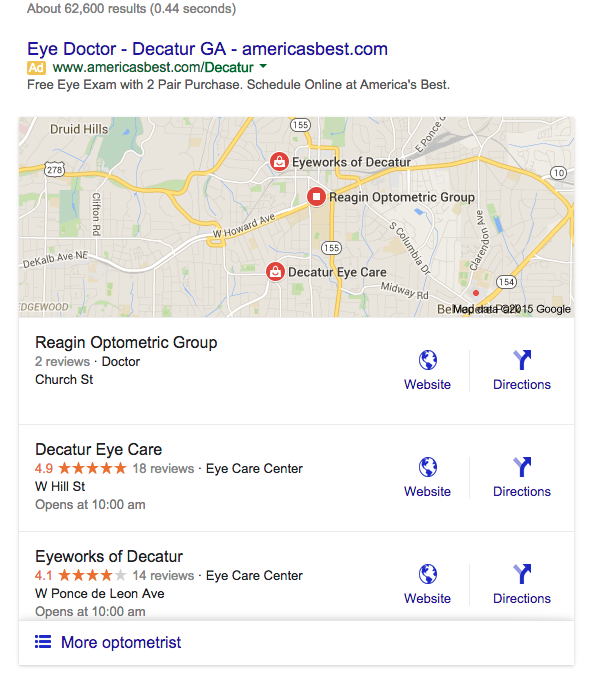 The new Google 3-Pack only shows three listing on local search results.